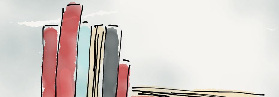 Zeichnung eines Bücherregals