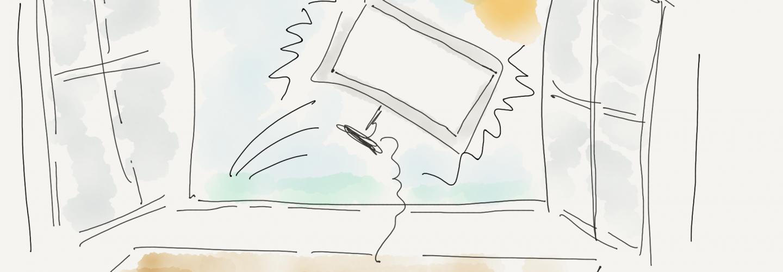 Zeichnung Computerbildschirm wird zum Fenster hinaus geworfen